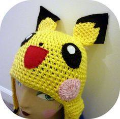 pokemon crochet hats | Crochet Pichu Pokemon Video Game Hat Happy Mouse | Kawaii Crochet
