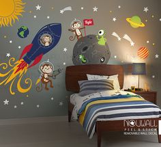 Monkey Wall Decal Rocket ship alien planet space astro by NouWall Bedroom Themes, Kids Bedroom, Bedroom Ideas, Murals For Kids, Art Kids, Kids Wall Decor, Space Theme, Wall Decals, Wall Décor