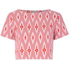 Red And White Aztec Print Crop Top ($38) ❤ liked on Polyvore featuring tops and red