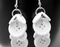 Dangle Button Earrings -White Button Cluster