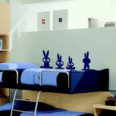 """Un lapin, deux lapins, trois lapins... Amusez vos enfants avec ce sticker """"Petits lapins"""" plein d'humour !"""