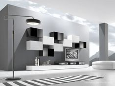 Modern living room is no longer just a part of the house but it is the most essential and active area. 50 modern living room furniture design ideas by Presotto. Grey Walls Living Room, Black And White Living Room, Living Room Accents, Living Room Modern, Living Room Designs, Living Rooms, Black White, Tv Design, Tv Wall Design