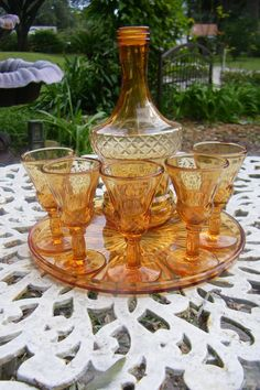 Vintage Amber Glass Bar set with Cups and Tray - Starburst Pattern