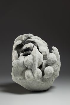 Katsumata Chieko's white chamotte-encrusted biomorphic sculpture in the form of a coral at Joan B Mirviss LTD, New York, stoneware, 2015.