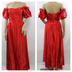 ee1898acc72 Vintage 80s Red Prom Dress Evening Dress Long Satin Formal Party Dress  Womens Clothing Dresses XS Small