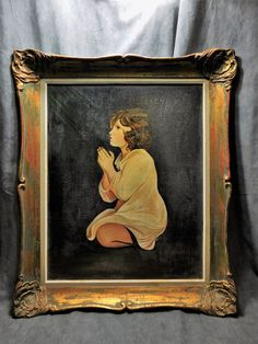 TABLEAU ANCIEN HUILE SUR TOILE SIGNE M.DRAGUET 1897 ENFANT PRIANT CADRE BOIS