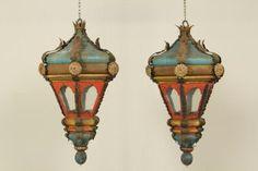 Pair of antique Venetian lanterns, antique colored metal, XVIII century