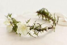 Woodland Floral Crown, Fern, Bohemian, Rustic, Ivory Floral Crown, Fall, Autumn, Hair Accessories, Bridal headpiece, Wedding.