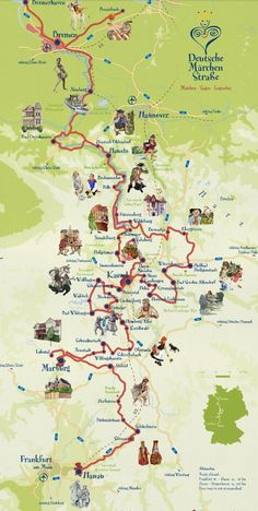 Fairy Tale Road Grimm Brothers Fairytales Route Map - seriously considering for next year's summer holiday in the Hymer.Grimm Brothers Fairytales Route Map - seriously considering for next year's summer holiday in the Hymer.