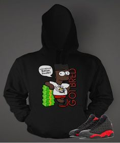 finest selection f4921 0ae09 Graphic Bart Got Bred Hoodie to Match Retro Air Jordan 13 Bred Shoe
