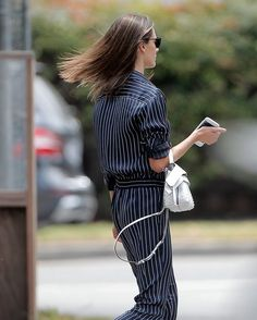 Alessandra Ambrosio Photos - Model Alessandra Ambrosio was spotted at a market in Brentwood, California on June 12, 2016. She wore a blue pinstriped suit while she was out and about. - Alessandra Ambrosio Visits a Market in Brentwood