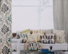 Custom Cream Curtains with Beige / Navy / Teal  by lushlivings