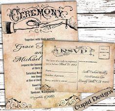 Rustic Elegant Linen Burlap Western Country Vintage Wedding invitation and RSVP card suite. Sample.