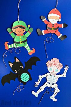 DIY Paper Puppets with Templates - a selection of animated paper puppets for all seasons. Get your free Paper Puppet Templates today. From Christmas, too Halloween, to Chinese New Year #paperpuppets #puppets #templates #printables #marionette