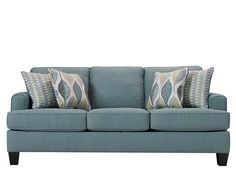 Don't go neutral—go natural. Inspired by nature's beauty, the Willoughby sofa is a breath of fresh air. Aqua upholstery livens up your room, and the patterns on the accent pillows add more colors to the mix. At the heart of the Willoughby sofa is a contemporary design that makes it feel current—live in the moment with track arms, tapered feet and the neatly tailored look of piping. Its inviting looks will make your guests feel right at home.