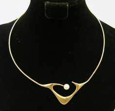 ED. WIENER 14K Gold and Pearl Modernist Necklace at 1stdibs