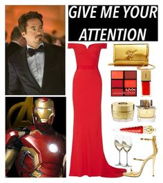 """""""Tony Stark"""" by rocklikeachampion ❤ liked on Polyvore featuring Alexander McQueen, Giuseppe Zanotti, Yves Saint Laurent, Oribe, Burberry, NYX, Riedel and Christian Louboutin"""
