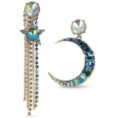 Betsey Johnson  Gold-Tone Celestial Star And Moon Mismatch Earrings ($52) ❤ liked on Polyvore featuring jewelry, earrings, blue, betsey johnson, stone earrings, blue stone jewellery, stone jewelry and star jewelry