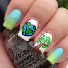 Make your feelings about Earth Day clear with this mixed-technique mani. #nails #nailart #earthday #spring #mani