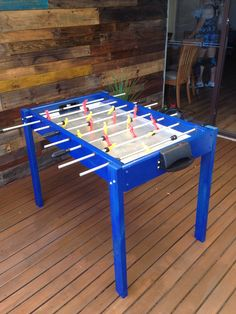 Upcycled from old bed - foosball table - nailed it!!