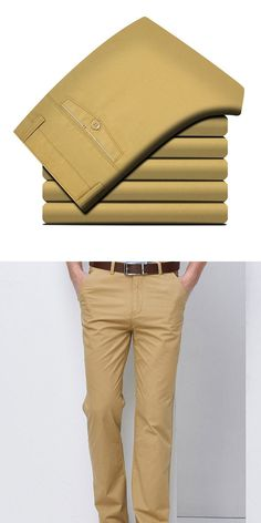 YUNY Mens Causal Solid Retrol Flax Flax Waistband Stretchy Trousers Army Green S