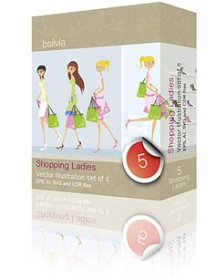 Shopping ladies, vector illustration #vector #graphic #illustration #shopping $25.00 commercial use!