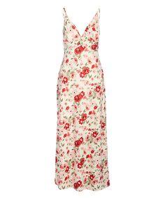 Derek Heart Cream & Red Floral Twist-Front Sleeveless V-Neck Maxi Dress - Juniors Robes Pour Juniors, Head To Toe, Junior Dresses, Floral Maxi Dress, Warm Weather, Designer Dresses, V Neck, Summer Dresses, Cream