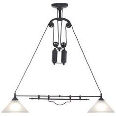 """Industrial-inspired pulley island light.   Product: Island lightConstruction Material: Metal and glassColor: Black Features: Pulley designAccommodates: (2) 60 Watt E26 incandescent bulbs - not includedDimensions: 35"""" H x 35"""" W x 8.7"""" D"""