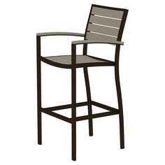 Polywood Euro Bar Height Patio Dining Arm Chair - Bronze/