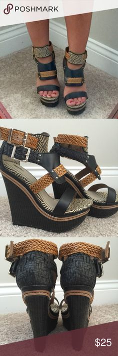 FABULOUS!  Tribal Print Mossimo Platform Wedges Mossimo for Target, tribal print, sky high wedges! Only worn twice, excellent used condition! These are absolutely FABULOUS, just check out all those details in the pictures, aww love them ❤️❤️!  I would love for these to go to a shoe lovers home! Mossimo Supply Co Shoes Wedges
