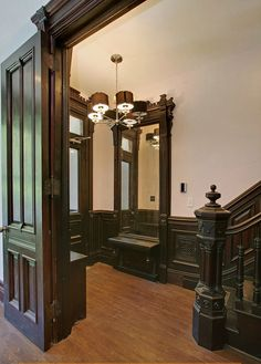Harlem New York brownstone Victorian woodwork on techpro12 flickr. Photo taken from Corcoran Realty.