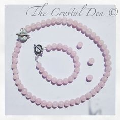 Handmade necklace and bracelet using rose quartz crystal gemstone beads. Available as a set, or separately (please select).Rose quartz is said to assist with relationships with others and most importantly - our relationship with ourselves. Crystals And Gemstones, Gemstone Beads, Quartz Necklace, Beaded Necklace, Rose Quartz Crystal, Bracelet Set, Handmade Necklaces, Relationships, Jewellery
