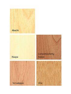 Lämpökäsitelty haapa  Lämpökäsitelty haapa säilyttää muotonsa hyvin. Se kuuluu Harvian tummimpiin laudemateriaalivaihtoehtoihin ja sen tuoksu on miellyttävä. Voit korostaa puun sävyä parafiiniöljykäsittelyllä.