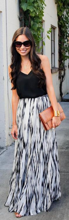 Parker Pleated Black  White Print Maxi Skirt -   With love From kat