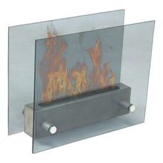 """Indoor/outdoor tempered glass fireplace.   Product: FireplaceConstruction Material: Stainless steel and tempered glassColor: GreyDimensions: 12"""" H x 15"""" W x 6"""" DNote: Assembly requiredCleaning and Care: Use glass cleaner as needed"""