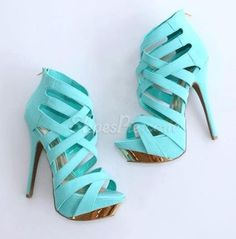Gorgeous Blue Coppy Leather Cut-Outs Platform High Heel Sandals