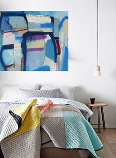 Bold colorful large Abstract art oil painting by Danielle Nelisse completes interior design accessories | large abstract art for bedroom or living room or dining room | acquire this oil painting on  wrapped canvas at www.daniellenelisse.com | free shipping + 7 day return policy | standard interior designer discount