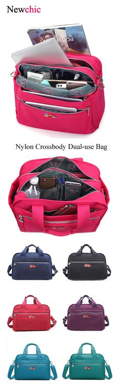 [$ 22.27] Women Nylon Handbag Multipocket Crossbody Dual-use Bag