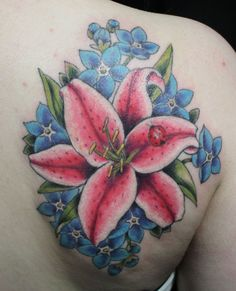 Pink lily and forget-me-nots tattooed by Laura at Damask Tattoo in Seattle, WA  lily, forget me not, forgetmenot, floral tattoo, botanical tattoo, flowers tattoo
