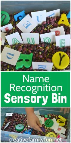 Help your child learn to recognize and spell their name with this Name Recognition Sensory Bin. It's a fun preschool activity to help them get ready for kindergarten. Preschool Names, Preschool Literacy, Kids Learning Activities, Alphabet Activities, Sensory Activities, Literacy Activities, Infant Activities, Sensory Play, Sensory Diet