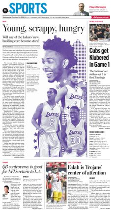 Young, scrappy, hungry #News #GraphicDesign #Layout #Sports more at https://www.pinterest.com/rojasmark2/newspaper-designs-by-mark-rojas/