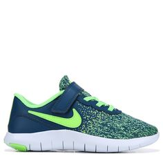 fbb914bc37e Nike Kids  Flex Contact Sneaker Preschool Shoes (Blue Lime)