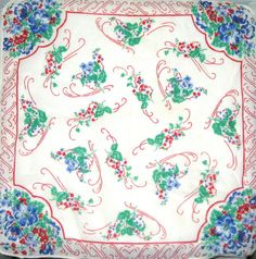 Vintage cotton floral hankie handkerchief by sweetalicelovesyou