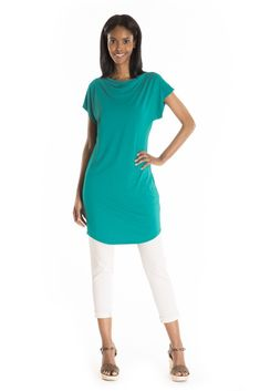 The Chamerion Tunic - women's spring summer fashion turquoise bamboo jersey tunic Fukushima, Cowl Neck, Spring Summer Fashion, Bamboo, Tunic Tops, Turquoise, Style, Swag, Green Turquoise
