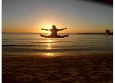 Toe-touch Sunset at Fraser Island