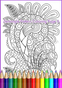 Printable Coloring Page Zentangle Pattern PDF Zendoodle Sheet Print A4 Paper