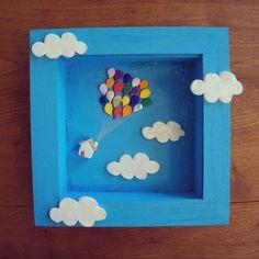 Diorama frame ceramic house in the sky par MoonAndWoodShop sur Etsy, €37.00