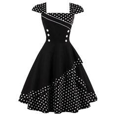 Buttoned Polka Dot Vintage Corset Dress - Black M Knee-Length A-Line Vintage Corset, Retro Vintage Dresses, Vestidos Vintage, Vintage Mode, Retro Dress, Vintage Outfits, 1950s Dresses, 50s Vintage, Corset Dresses