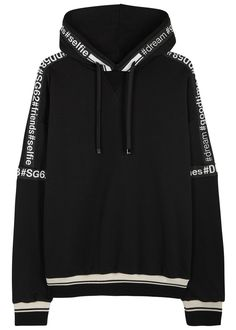 Dolce & Gabbana black cotton sweatshirt Drawstring hood, printed grosgrain trims, striped, ribbed cuffs and hem Slips on 100% cotton