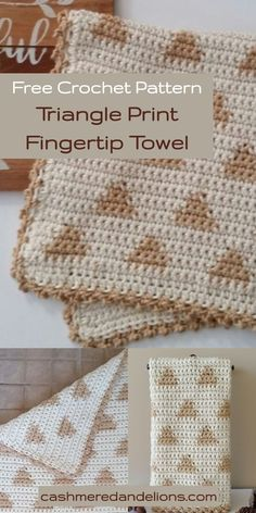 This is a free crochet pattern for a triangle print fingertip towel using the flat tapestry crochet technique. Quick Crochet Patterns, Tapestry Crochet Patterns, Christmas Crochet Patterns, Free Crochet, Crochet Dish Towels, Crochet Dishcloths, Crochet Baskets, Crochet Crafts, Crochet Projects